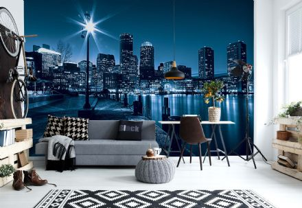 "Easy to apply wallpaper ""Blue Night City Sky"""